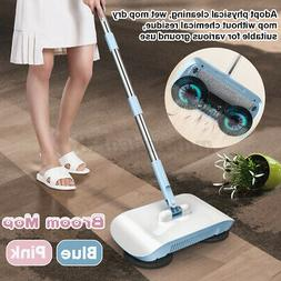 2 In 1 Automatic Hand Push Sweeper Broom 360° Rotary Floor