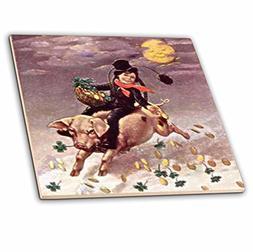 3dRose ct_42888_1 Chimney Sweeper on Flying Pig 'Vintage' Ce