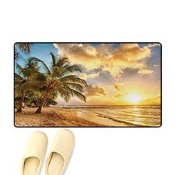 Door Mats,Tropic Sandy Beach with Horizon at The Sunset and