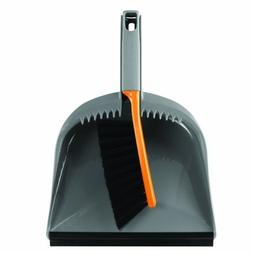Casabella 1 Count Dustpan and Brush Set, Graphite/Orange