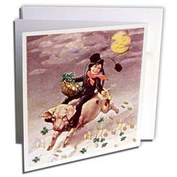 3dRose Greeting Cards, Chimney Sweeper On Flying Pig Vintage