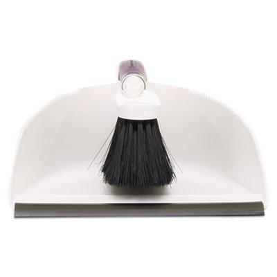 Rubbermaid Products Rubbermaid Commercial Brush Dustpan, - As Each - Duster/dust pan cleanup. - polypropylene bristles and comfortable molded plastic handle with hang-up 9-1/2w x 12-1/2d features and rubber edge pickup. - White.