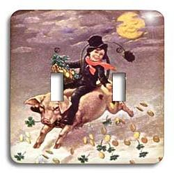 """3dRose LSP_42888_2""""Chimney Sweeper on Flying Pig  -Double To"""