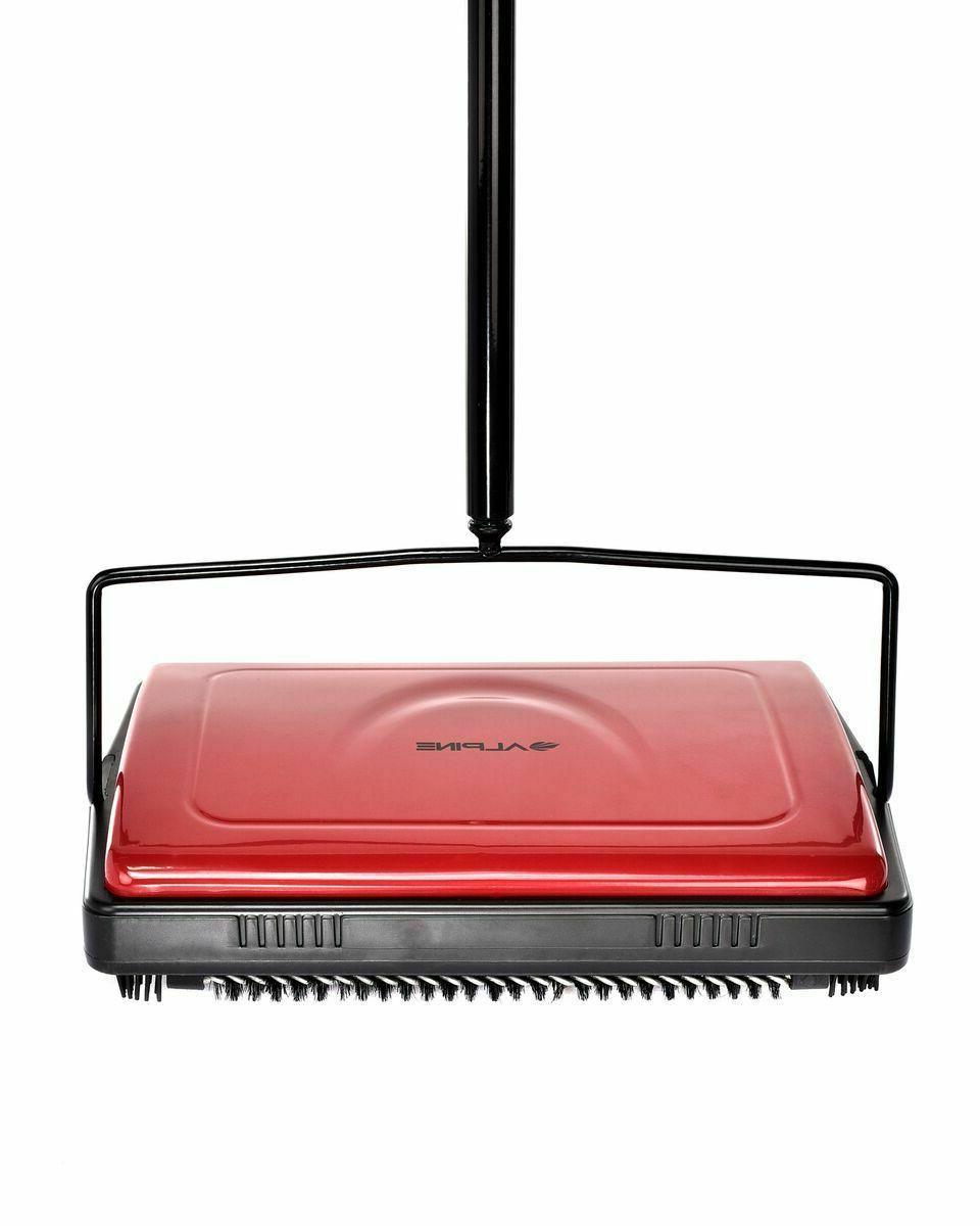Alpine Industries Red Brush House Broom Floor and Carpet Sweeper
