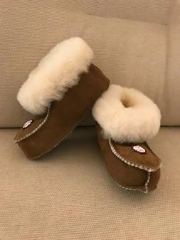 New Kids Genuine Shearling Cuffed Embellished Boots Cozy Sle