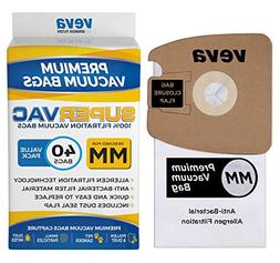 VEVA 40 Pack Premium SuperVac Replacement Vacuum Bags Type M