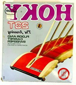 Vintage Hoky 23T Yellow Floor & Carpet Sweeper w/ Boar Brist